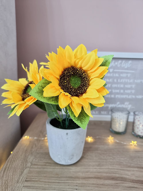 Faux Potted Sunflower Plant