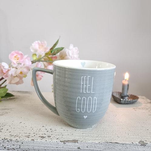 Grey 'Feel Good' Mug With Heart