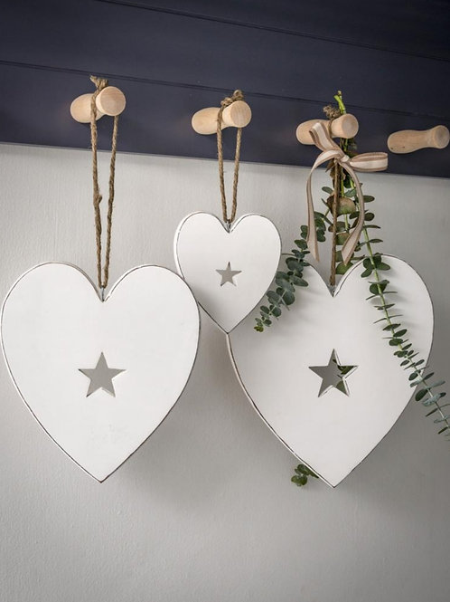 White Cut Out Star Hanging Hearts - Set Of 3