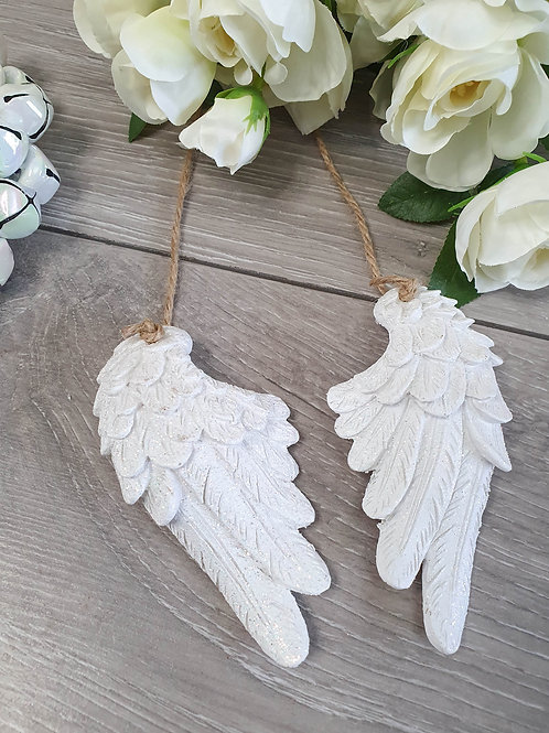 Mini White Glitter Angel Wings Hanger