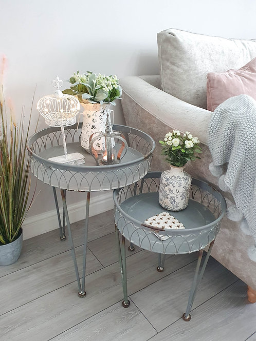 Fil De Fer Rustic Grey Iron Round Side Table