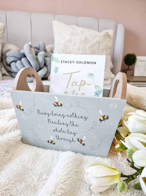 Pretty Busy Bee Grey Reading Crate