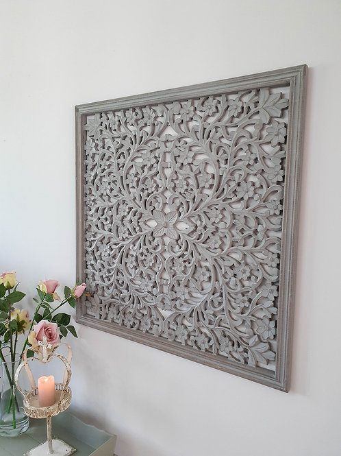 Distressed Grey Filigree Framed Wall Panel