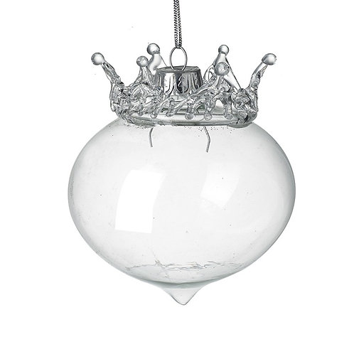 Clear Glass Crown Topped Bauble