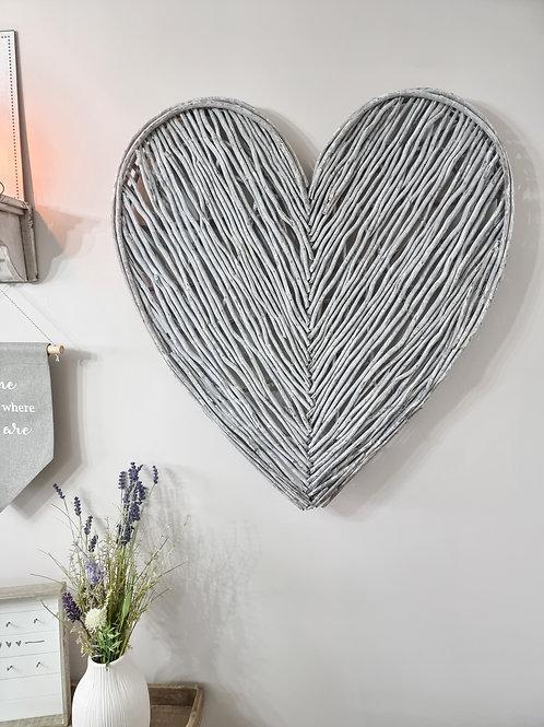 Grey Washed Wicker Wall Heart
