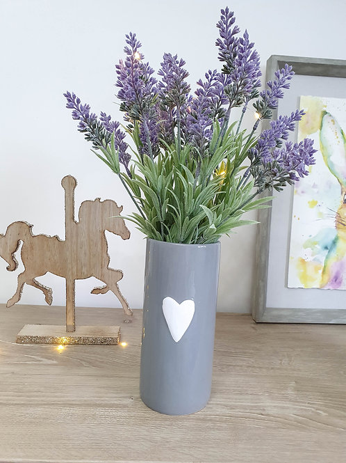 Grey Vase With White Heart **IMPERFECT**