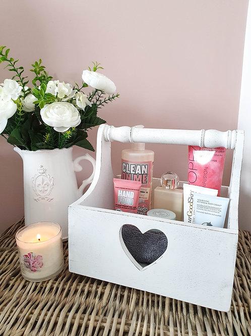 Distressed White Heart Storage Trug