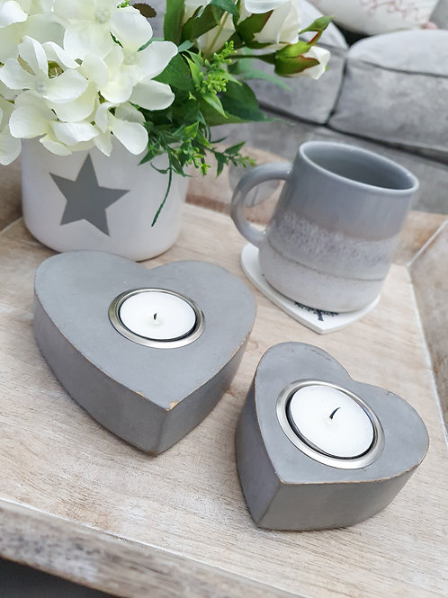 Chunky Grey Heart Candle Holders S/2