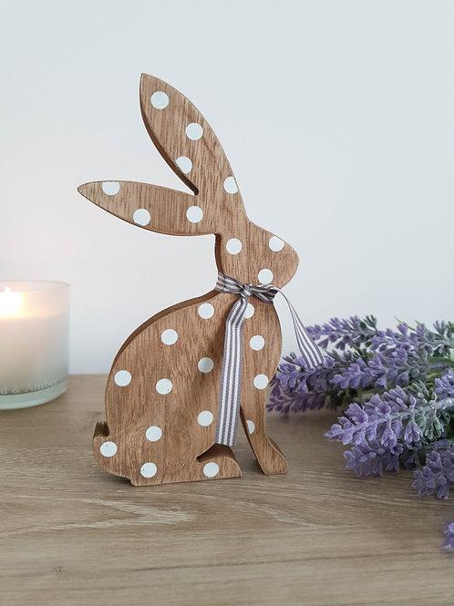 Brown & White Polka Dot Hare Figure