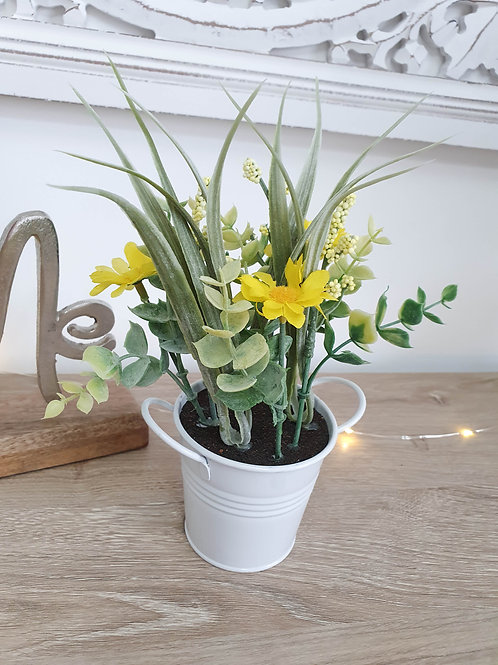 Spring Yellow Faux Plant In Pot