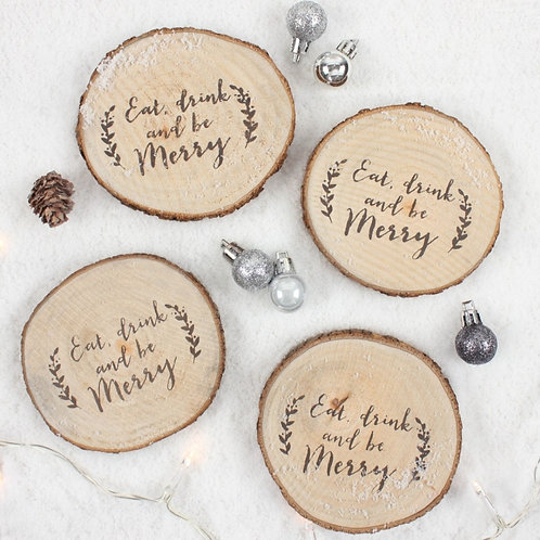 Wooden Log Christmas Coasters S/4