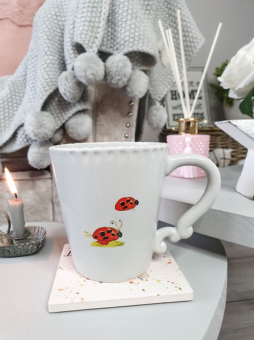 Grey Scalloped Ladybird Mug
