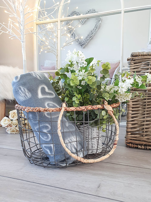 Wire Basket With Seagrass Trim