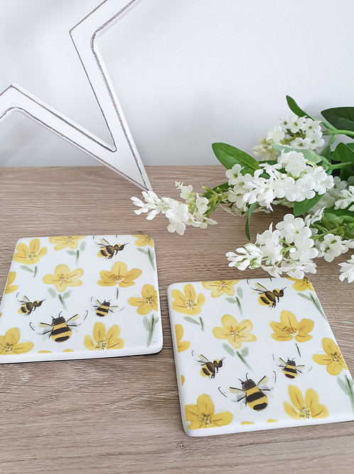 Buttercups & Bee's Bone China Coaster Set Of 2