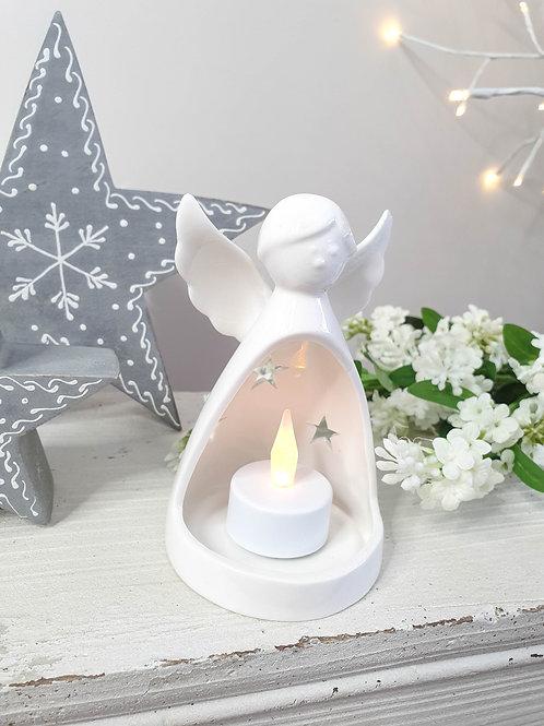 White Ceramic Angel T-light Holder
