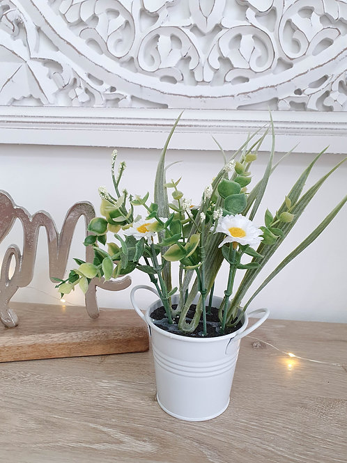 Spring White Faux Plant In Pot