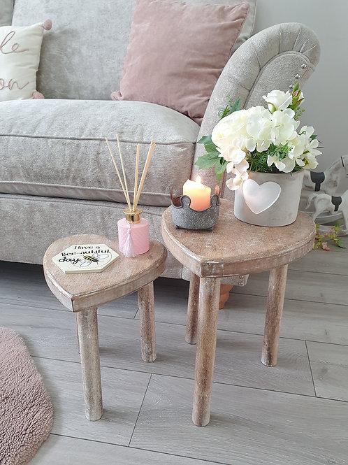 Mango Wood Heart Shaped Side Tables