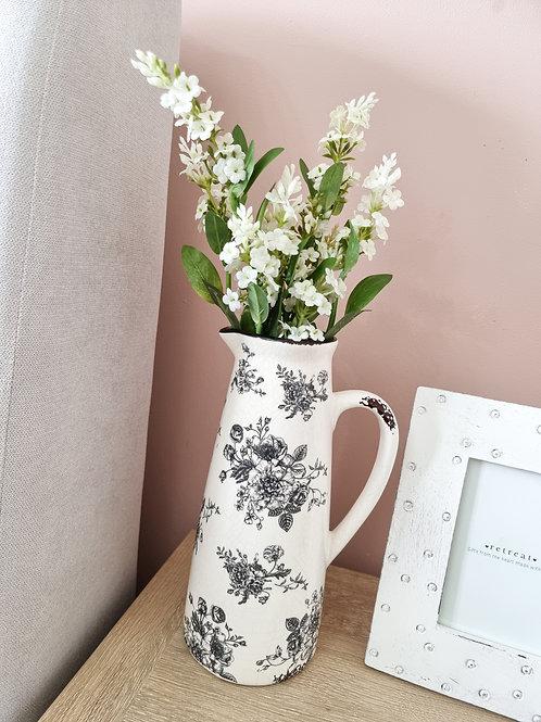 Vintage Style White Floral Jug