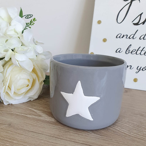 Grey Pot With White Star **IMPERFECT**