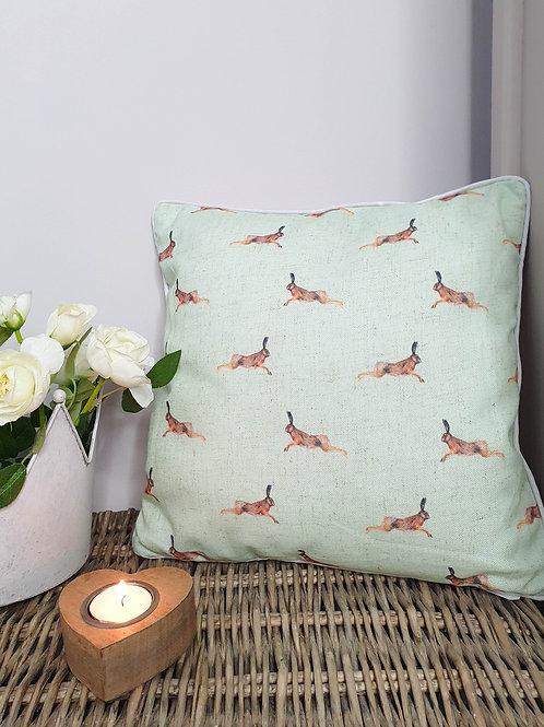 Light Green Repeat Hare Cushion