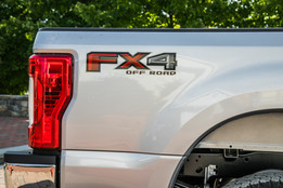 Close up up FX4 off road sticker of silver Ford F250