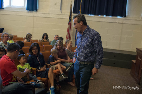 Author Eric Litwin mingling with audience