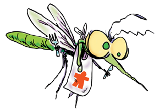 Large mosquito illustration with bib and silverware