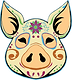 Sugar Skull decoration on Pig Head Icon