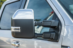 Side mirror of silver Ford F250