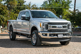 Front corner of silver Ford F250