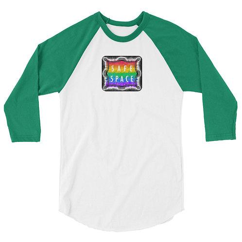 Safe Space Rainbow: 3/4 sleeve raglan shirt