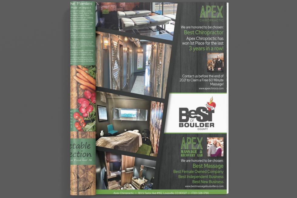 Apex Chiropractic Best of Boulder Magazine Ad
