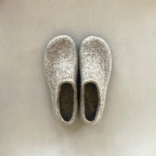 Wool felted room shoes / light grey 25cm