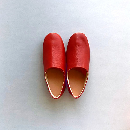 Leather room shoes / dark orange