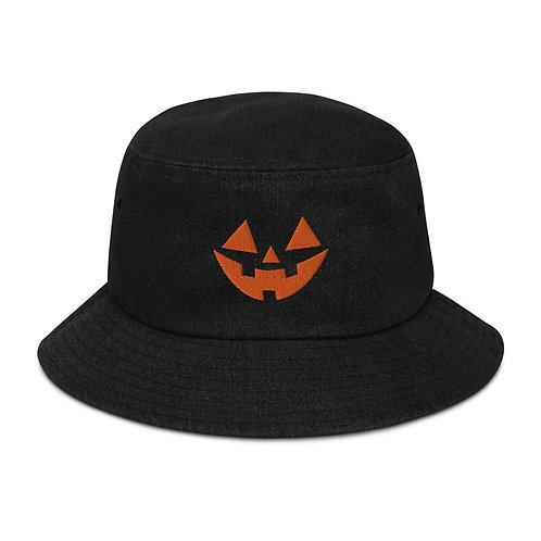 JACK-O-LANTERN BLACK DENIM BUCKET HAT