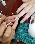 Manicure in progress