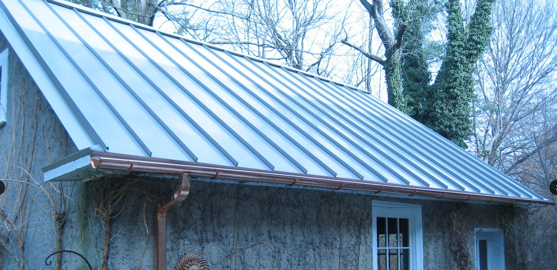 Swarthmore, PA - Standing seam metal roof and copper gutters