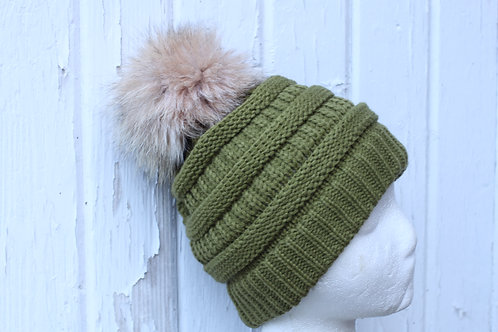 ,Olive knit hat with Coyote pompom