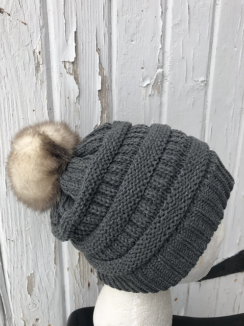 Dark Mel Gray knit hat with Opossum pompom
