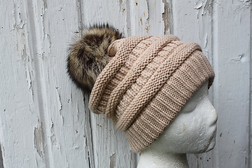 Beige, Knit hat with Raccoon Pompom