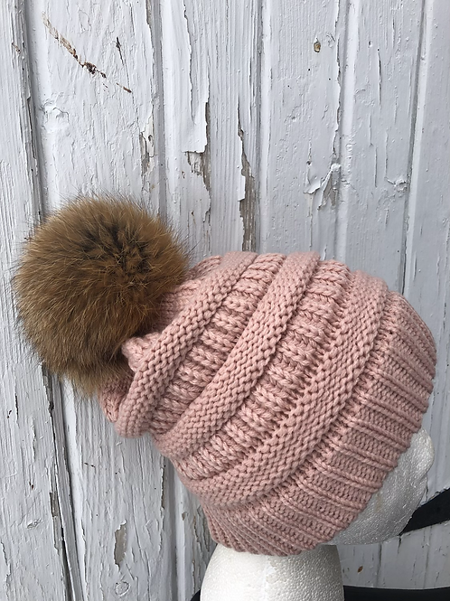 Indi Pink, Knit hat with Red Fox Pompom