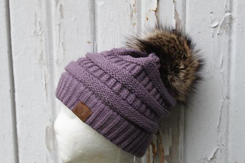 Violet, knit hat with Coon pompom