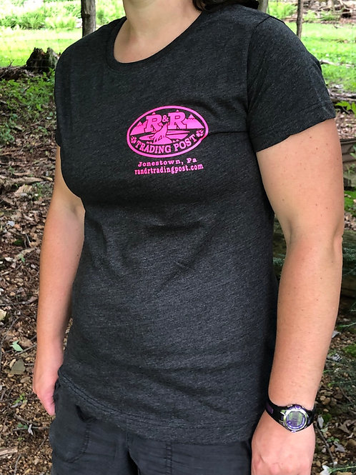 Charcoal gray, R and R Trading Post with pink logo front and back.