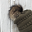 Thumbnail: New Olive Green, Knit hat with Raccoon pompom