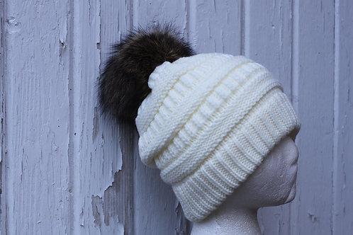 Ivory, knit hat with raccoon pompom
