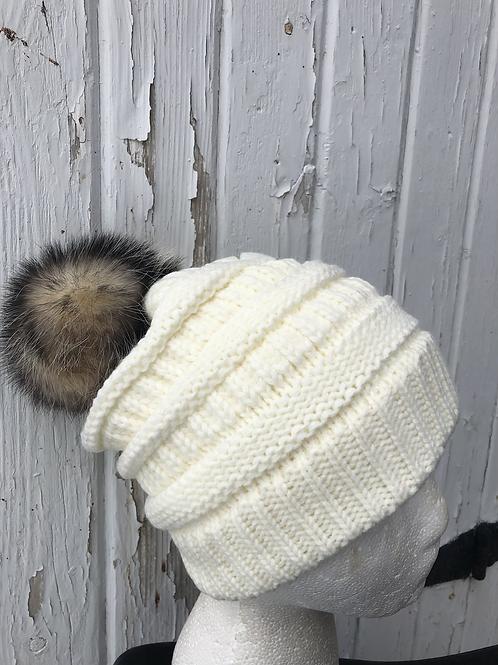 Ivory, Knit hat with Opossum Pompom