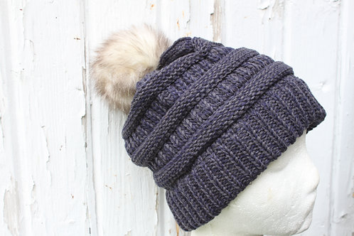 2 Tone Navy/ Gray, knit hat with possum  pompom