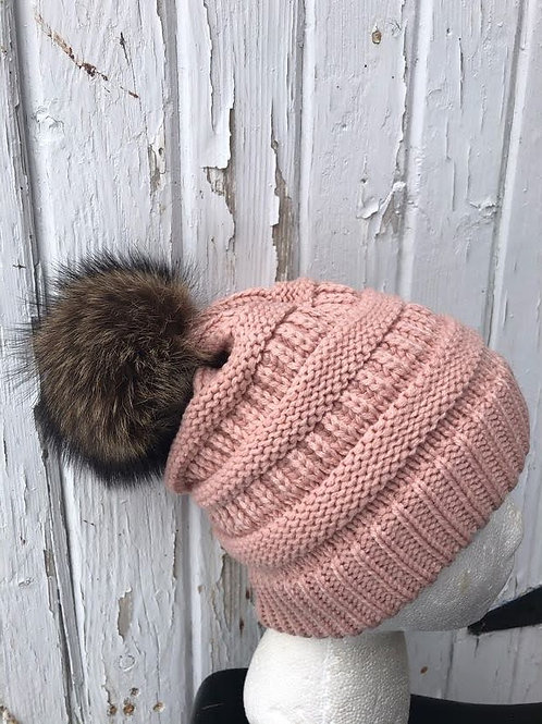 Indi pink knit hat with Raccoon pompom