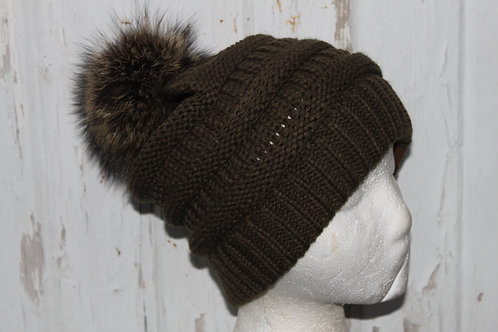 Olive Green, knit hat with Racoon PomPom