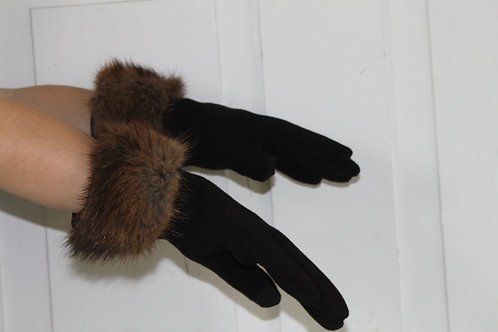 Black Polyester gloves with Muskrat cuff